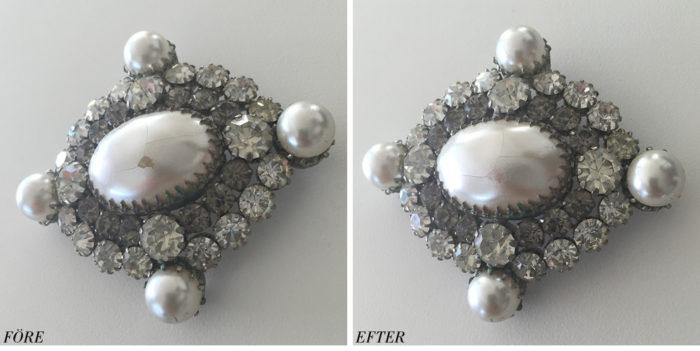 PS! Om du köper en äldre brosch och ytan är krackelerad är det lätt att fixa till med pärlemorfärgat nagellack.
